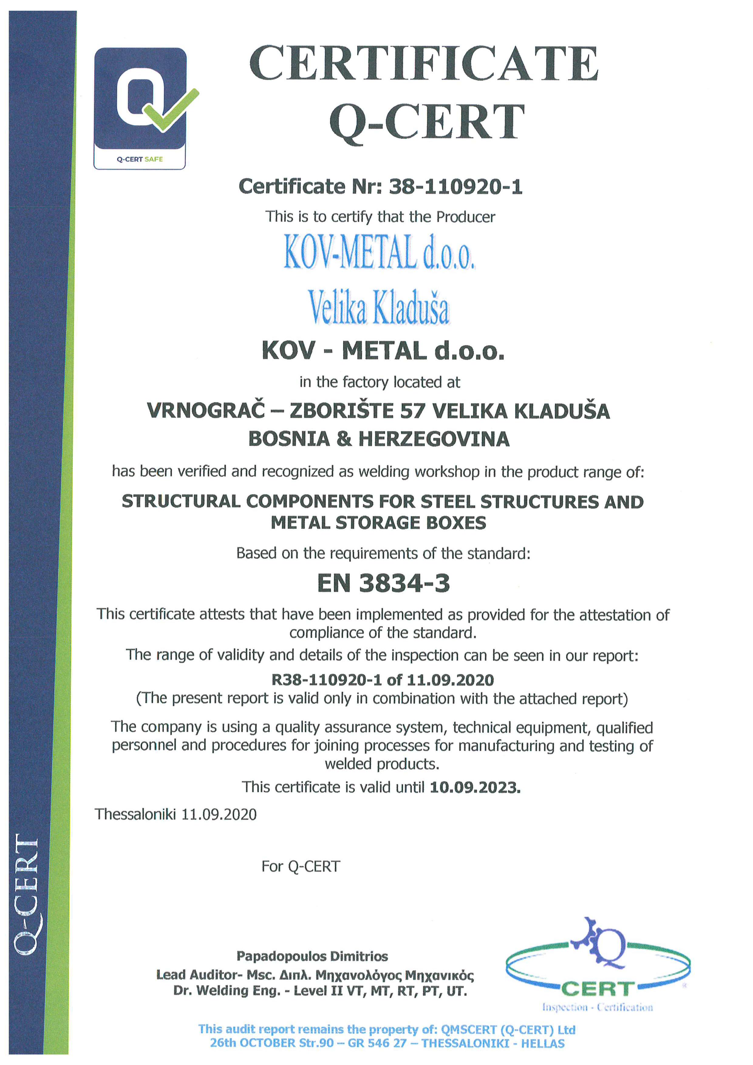 3834-3 certifikat